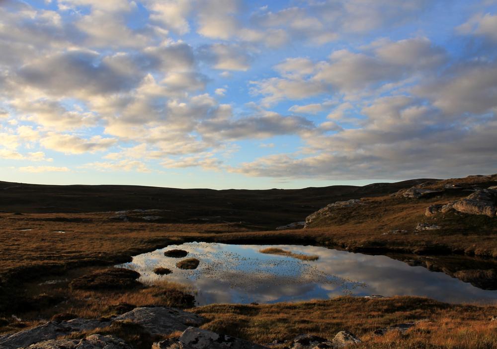 Kleiner See im Sonnenuntergang an der Kyle Of Tongue