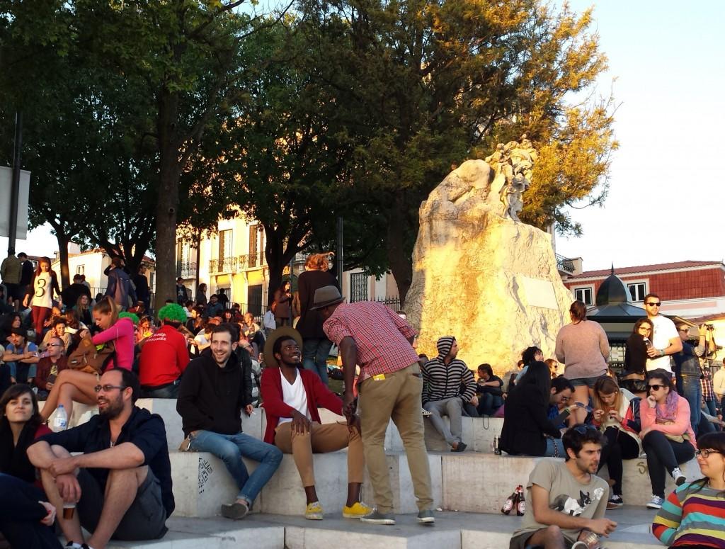 Abends am Adamastor in Lissabon