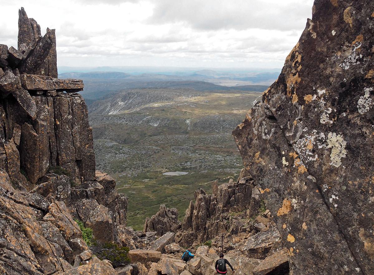 Auf dem Weg zum Gipfel des Cradle Mountain