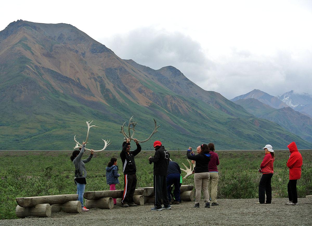 Touristen posieren für Fotos im Denali Nationalpark