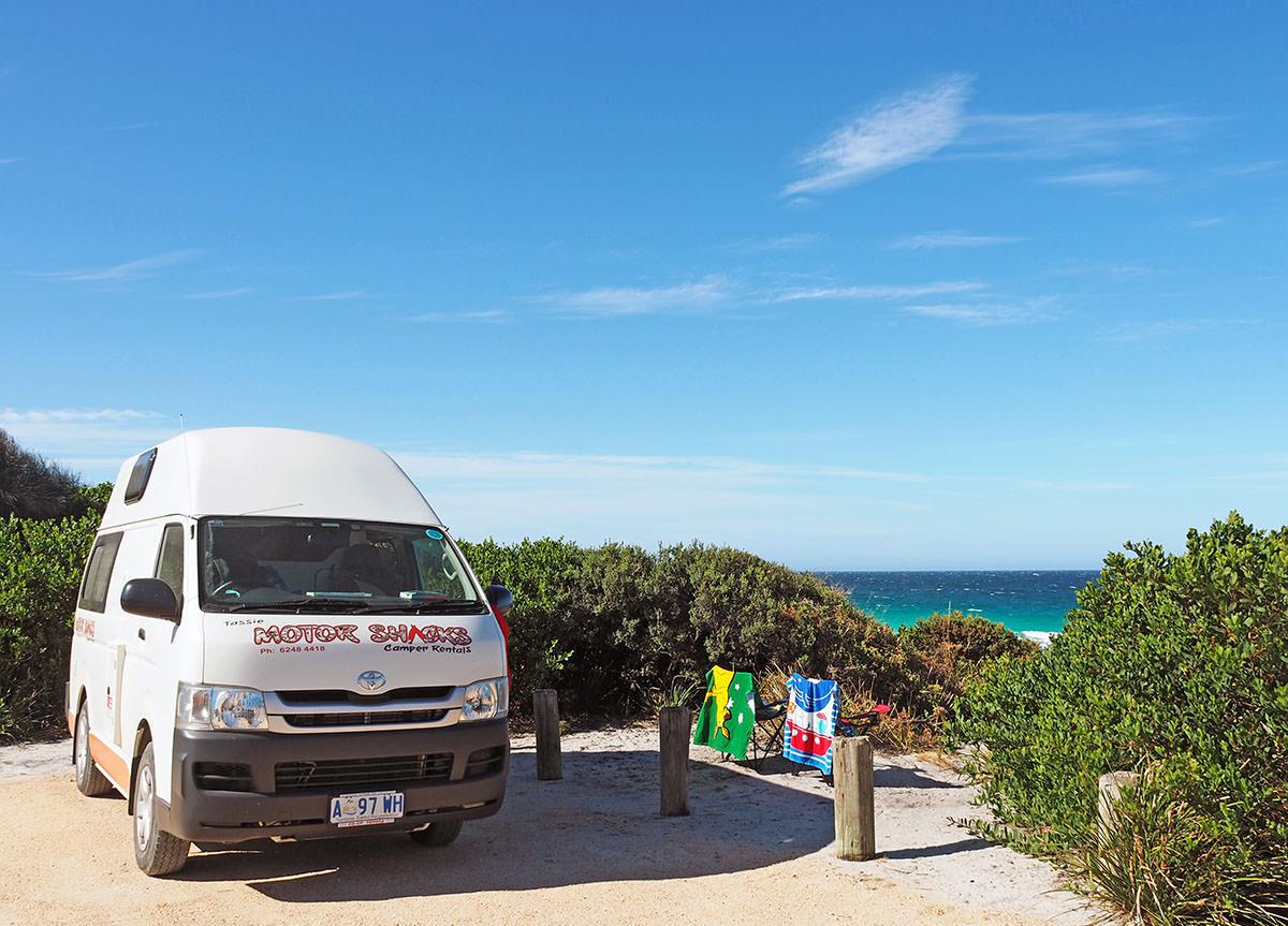 Campingplatz an der Bay of Fires auf Tasmanien
