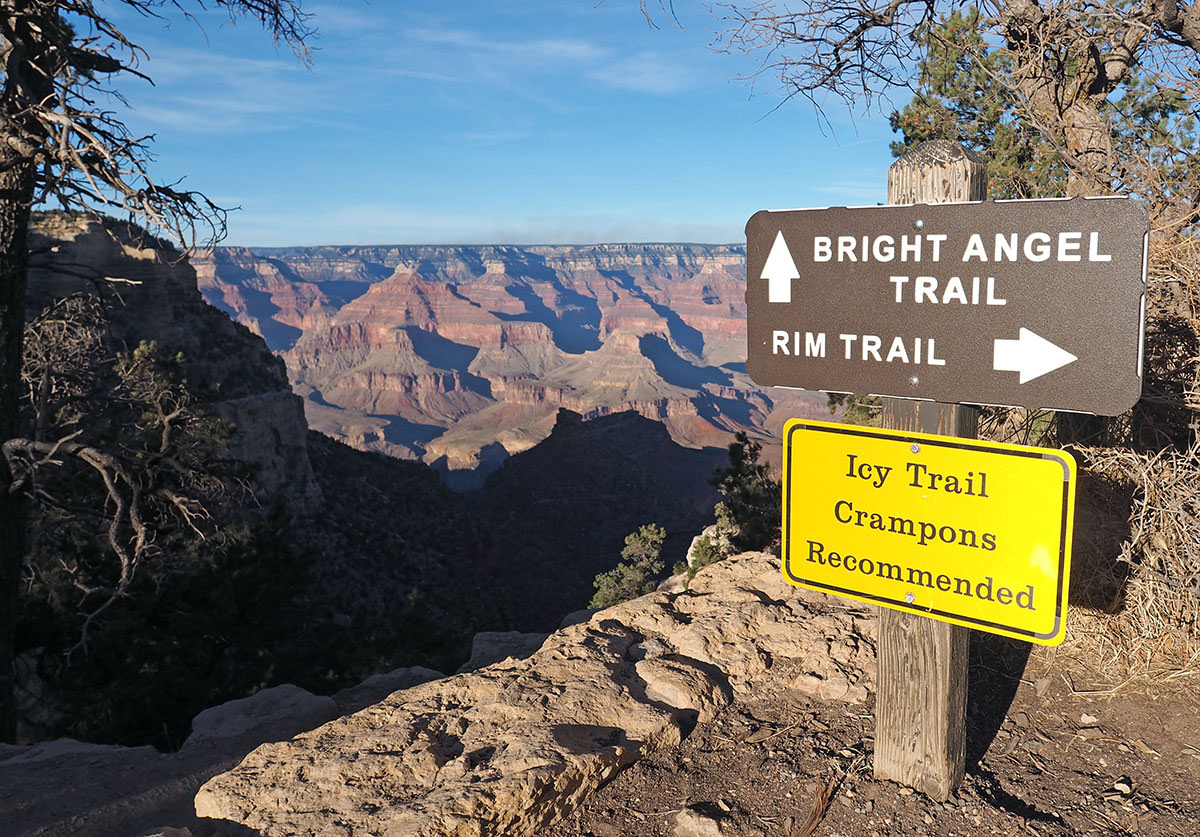 bright angel trail im winter