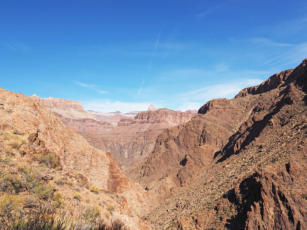 Aussicht vom Bright Angel Trail in den Grand Canyon